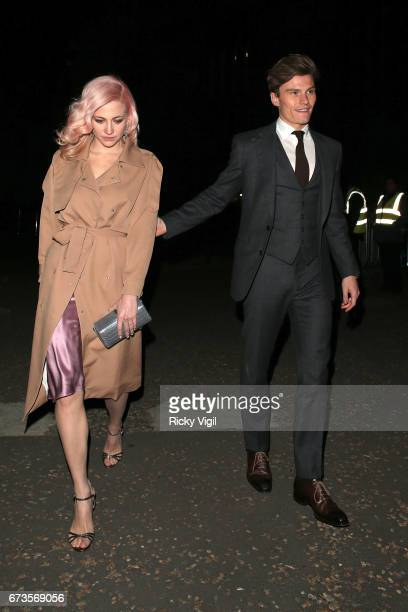 Pixie Lott and Oliver Cheshire attend Lost In Space anniversary party at Tate Modern to mark the 60th anniversary of Speedmaster on April 26 2017 in...