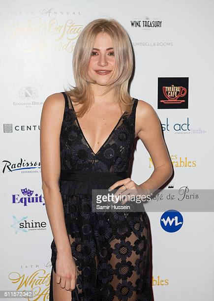 Pixie Lott arrives for the WhatsOnStage Awards at Prince Of Wales Theatre on February 21 2016 in London England