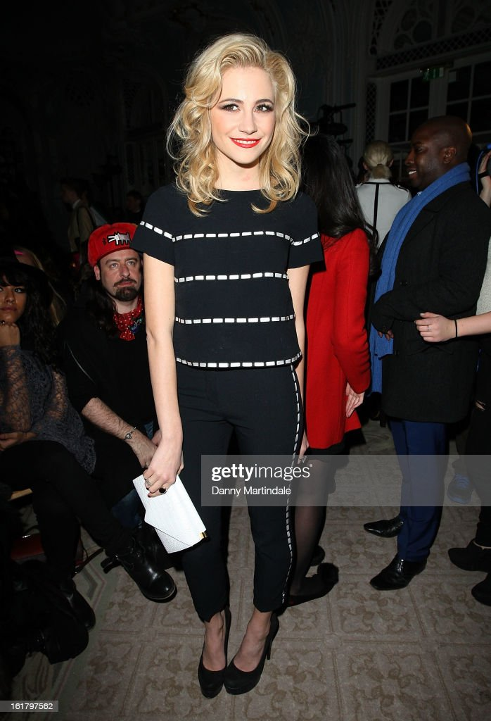 Pixie Lott attends the Moschino cheap&chic show during London Fashion Week Fall/Winter 2013/14 at The Savoy Hotel on February 16, 2013 in London, England.