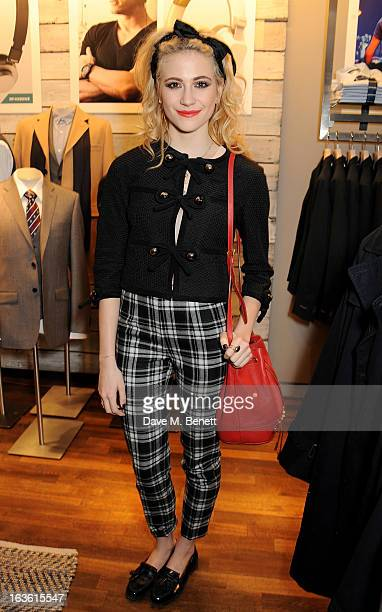 Pixie Lott attends the Panasonic Technics 'Shop To The Beat' Party hosted by George Lamb at French Connection Oxford Circus on March 13 2013 in...