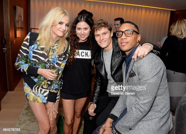 Pixie Lott Eliza Doolittle Oliver Cheshire and Reggie Yates attend the 'GUESS Loves Priyanka' VIP Dinner at the London Edition Hotel on January 20...