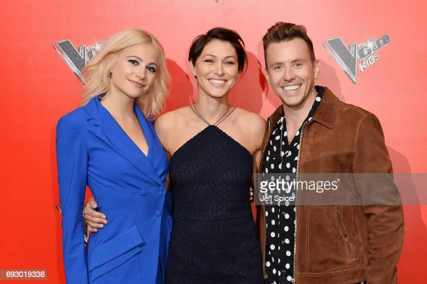 Pixie Lott Emma Willis and Danny Jones attend the photocall of 'The Voice Kids' at Madame Tussauds on June 6 2017 in London England