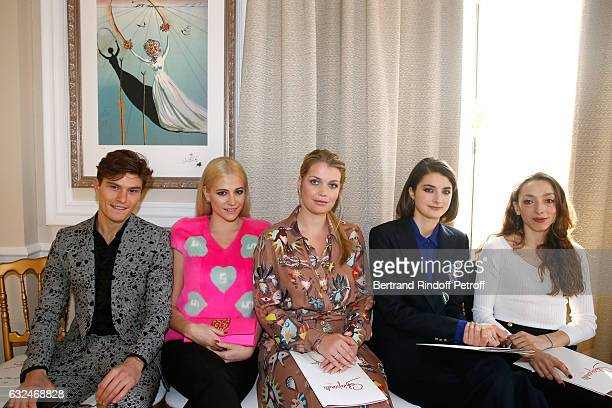 Pixie Lott her companion Oliver Cheshire Lady Kitty Spencer and Daisy Bevan attend the Schiaparelli Haute Couture Spring Summer 2017 show as part of...