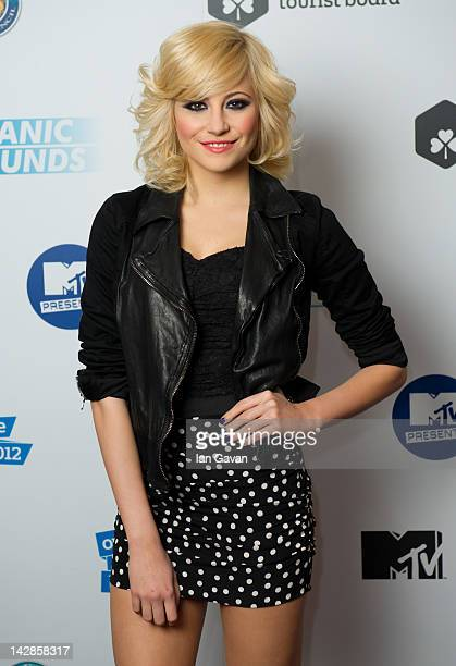 Pixie Lott is seen backstage during MTV Presents Titanic Sounds in Belfast to celebrate the Titanic Belfast attraction at Titanic Slipways on April...