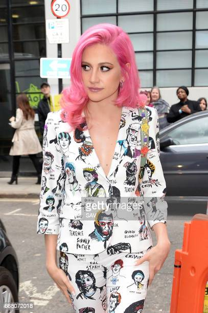 Pixie Lott leaves the AOL Offices after appearing on the Build Project on April 13 2017 in London England
