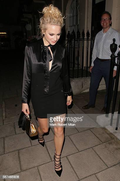 Pixie Lott leaving the Theatre Royal Haymarket on August 8 2016 in London England