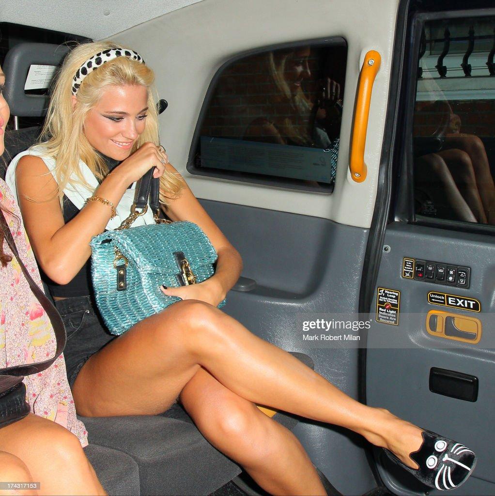 Pixie Lott leaving Zizzi restaurant on July 23, 2013 in London, England.