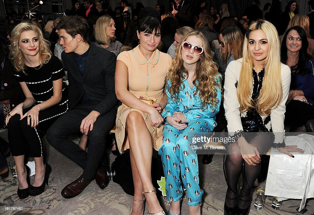 Pixie Lott, Oliver Cheshire, Gizzi Erskine, Anais Gallagher and Zara Martin attend the Moschino cheap&chic show during London Fashion Week Fall/Winter 2013/14 at The Savoy Hotel on February 16, 2013 in London, England.