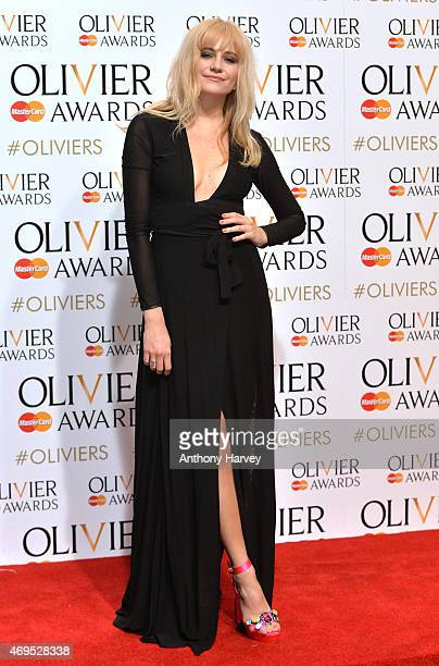 Pixie Lott poses in the winners room at The Olivier Awards at The Royal Opera House on April 12 2015 in London England