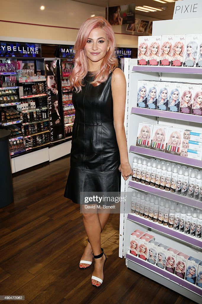 Pixie Lott releases PAINT by Pixie Lott exclusively at Superdrug, Oxford Street on September 29, 2015 in London, England.