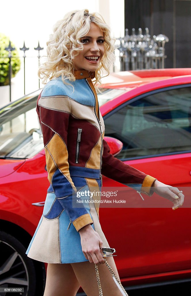 Pixie Lott seen leaving the Haymarket Hotel after the 'Breakfast at Tiffany's' London launch on May 4, 2016 in London, England.