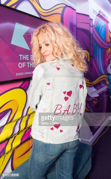 Pixie Lott sports a jacket promoting her latest single 'Baby' when she visits the Kiss FM Studio's on May 17 2017 in London England