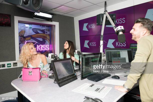 Pixie Lott visits Alex Mansuroglu and Andrea Zara at the Kiss FM Studio's on May 17 2017 in London England