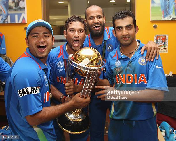 Piyush Chawla Sachin Tendulkar Yusuf Pathan and Gautam Gambhir in the dressing room with the winners trophy during the 2011 ICC World Cup Final...