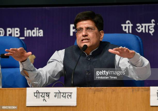 Piyush Goyal Minister of State for Power Coal New Renewable Energy Mines addresses a press conference on achievements of his ministries during 3...