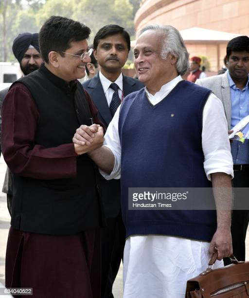 Piyush Goyal Minister of State with Independent Charge for Power Coal New and Renewable Energy and Mines with Congress leader Jairam Ramesh at...