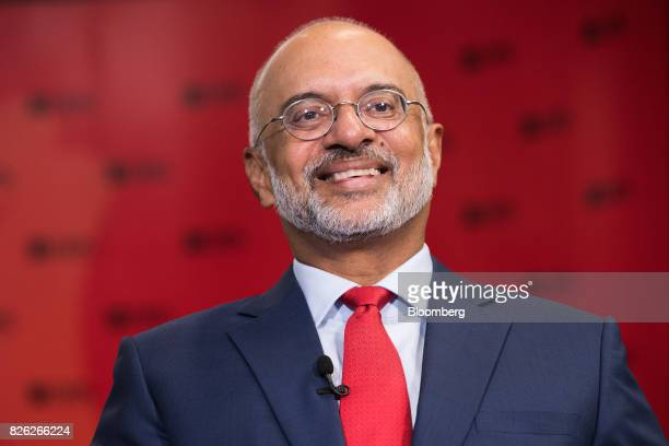 Piyush Gupta chief executive officer of DBS Group Holdings Ltd speaks during a Bloomberg Television interview in Singapore on Friday Aug 4 2017 DBS...