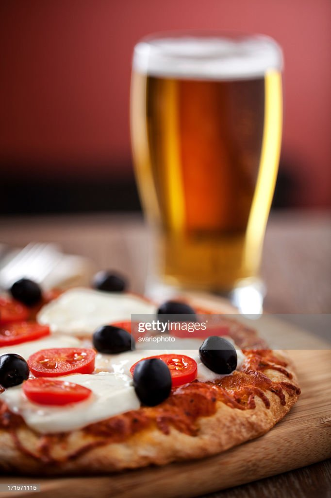 Pizza and Beer : Stock Photo