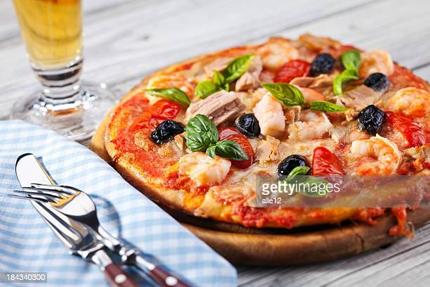 Pizza and glass of beer