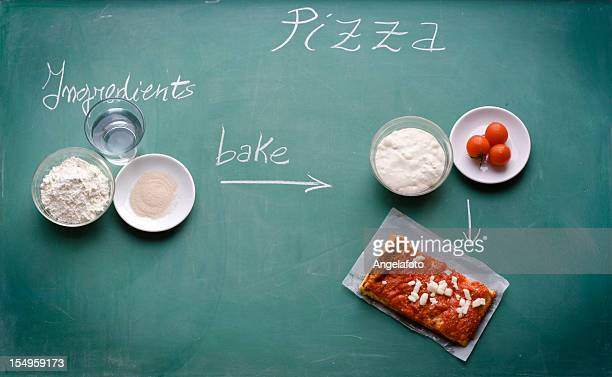 Pizza and Ingredients on Blackboard