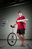 Pizza Delivery Guy with a unicycle  Please visit my LIGHTBOX OF PIZZA DELIVERY AND PIZZA RESTASURANT IMAGES (Just click on the thumbnail):  [url=/file_search.php?action=file&lightboxID=8562325][img]/f