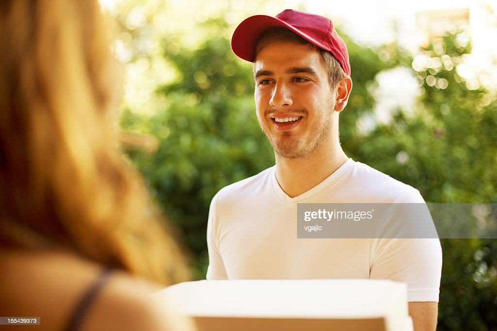 Pizza Delivery Person. : Stock Photo