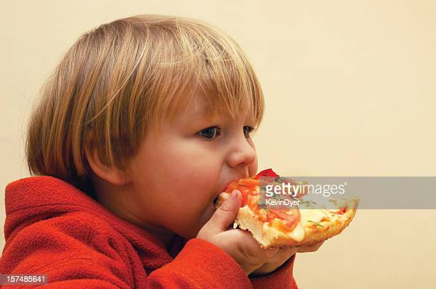 Pizza Feasting Child