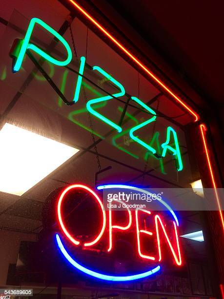 Pizza Open Neon sign at night Paris Pizza Shop in Wilmington Delaware on 3/10/2015