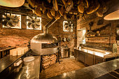 Pizza oven in open kitchen italian restaurant