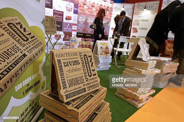 Pizza packaging are displayed at a stand of the SandwichSnack show an event gathering actors of the fast food sector worldwide on February 5 2014 in...