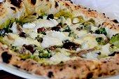 Pizza Patanegra Di Giuseppe Pignalosa Steamed Cod Mozzarella Escarole Gaeta Olives Capers Anchovies and Lemon Peel