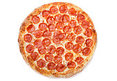 Pizza pepperoni isolated on white background, top view