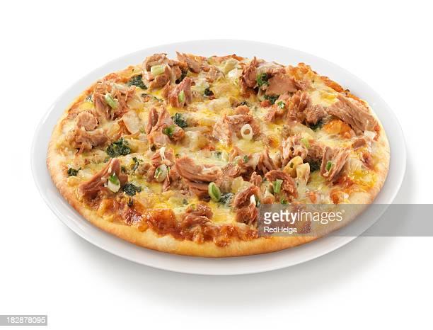 Pizza Tuna Onion Herbs on Plate
