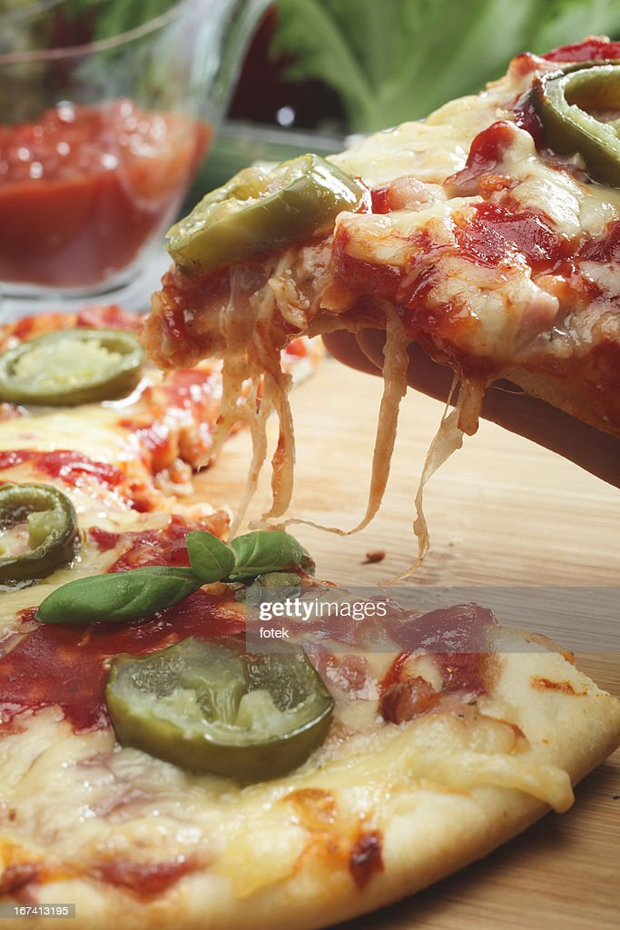 Pizza with jalapeno pepper : Stock Photo