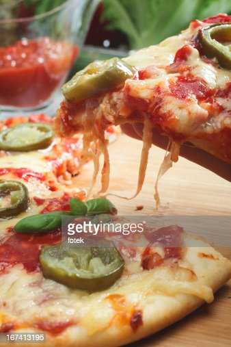 Pizza with jalapeno pepper : Stockfoto