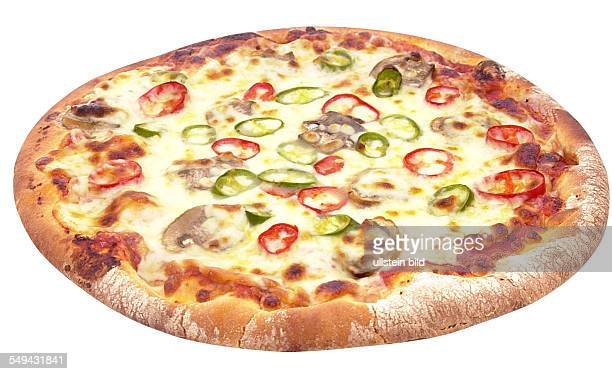 Pizza with tomatoes pepper and mushrooms