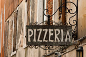 Pizzeria sign, italian restaurant in Venice