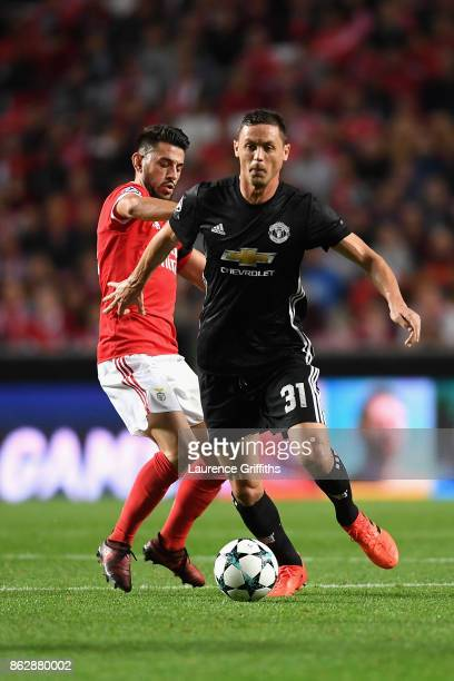 Pizzi of Benfica and Nemanja Matic of Manchester United battle for posession during the UEFA Champions League group A match between SL Benfica and...