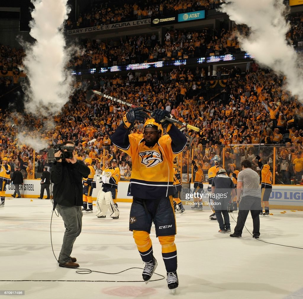 Subban #76 of the Nashville Predators celebrates after a 4-1 victory in Game Four of the Western Conference First Round against the Chicago Blackhawks during the 2017 NHL Stanley Cup Playoffs at Bridgestone Arena on April 20, 2017 in Nashville, Tennessee.