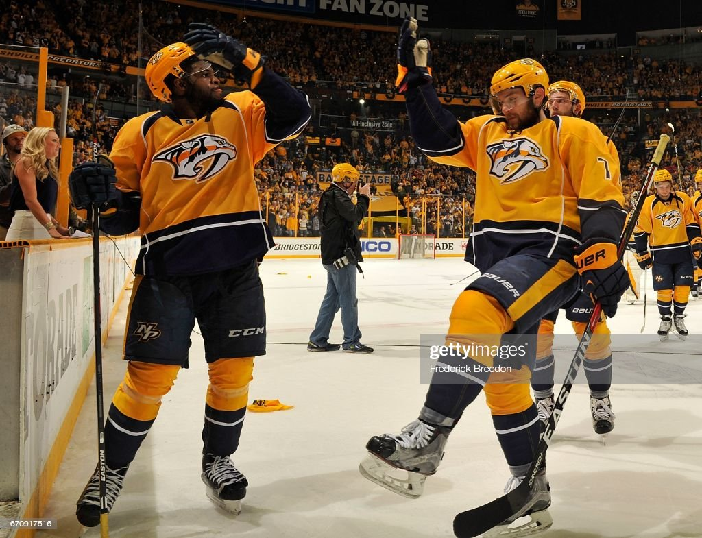 Subban #76 of the Nashville Predators chigh fives teammate Yannick Weber #7 after a 4-1 victory in Game Four of the Western Conference First Round against the Chicago Blackhawks during the 2017 NHL Stanley Cup Playoffs at Bridgestone Arena on April 20, 2017 in Nashville, Tennessee.