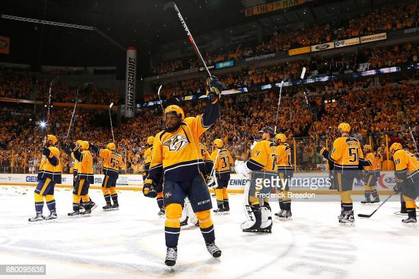 Subban of the Nashville Predators raises his stick to thanks the fans after a 31 Predator victory over the St Louis Blues in Game Six of the Western...