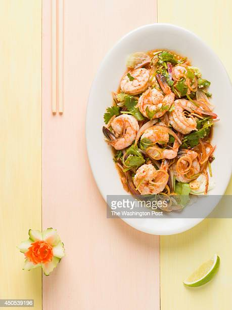 Pla Goong shrimp tossed with lemon grass red onion mint leaves lime juice and fresh chili pepper was photographed on Tuesday April 15 2014 at Thai...