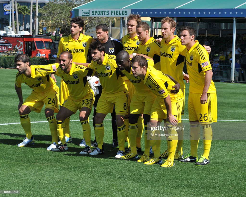 Plaayers of the Columbus Crew pose for a photo before play against Toronto FC February 9, 2013 in the first round of the Disney Pro Soccer Classic in Orlando, Florida. Columbus won 1 - 0.