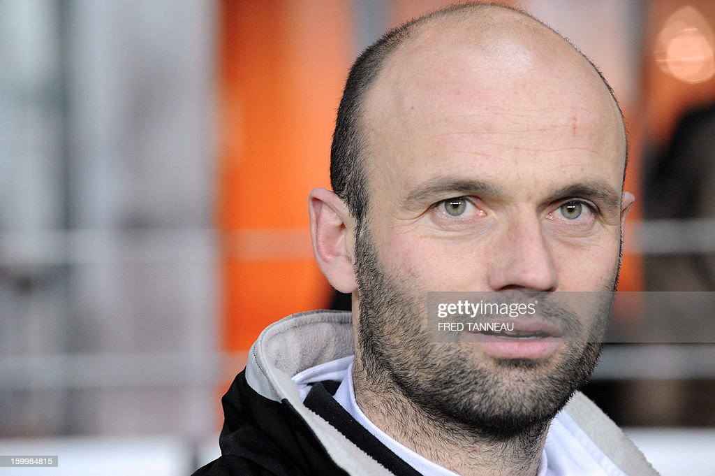 Plabennec's French coach Franck Kerdiles attends the French Cup football match Plabennec vs Lille on January 24, 2013 in Brest, western of France.