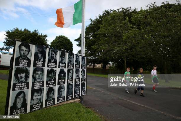 A placard commemorating IRA volunteers in a housing estate in Castlederg County Tyrone ahead of the controversial parade by IRA supporters