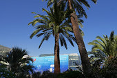 A placard is seen in front of the Grimaldi Forum building prior to the UEFA Champions League draw in Monaco on August 27 2014 The 32 clubs 22 of...