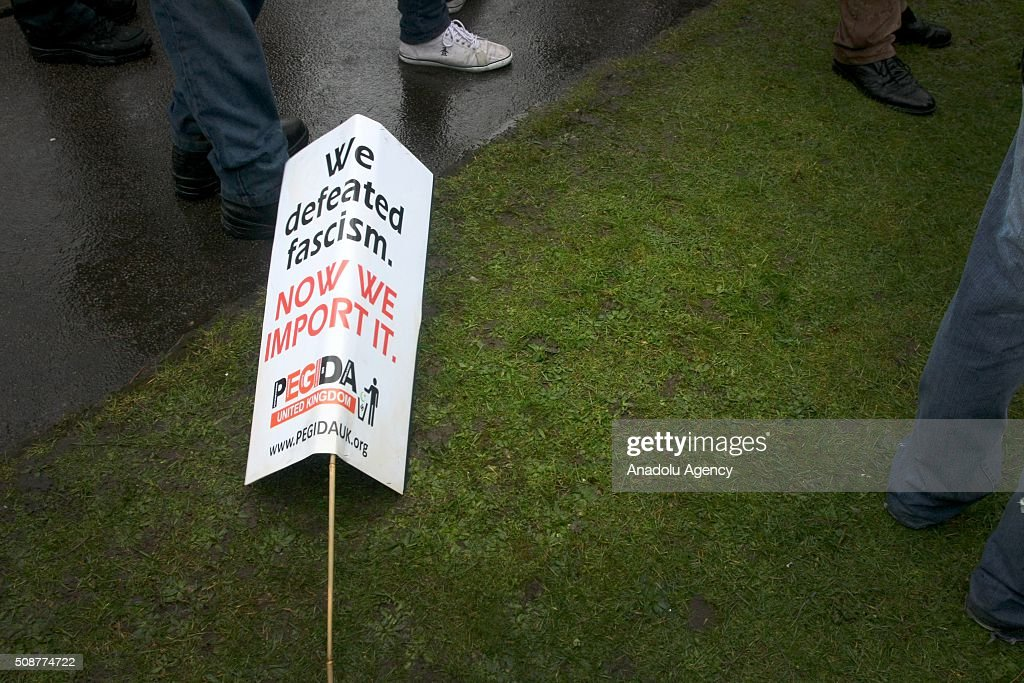 A placard is seen on the ground during the 'silent march' organized by Pegida (Patriotic Europeans against the Islamisation of the West) UK supporters in Birmingham, England on February 6, 2016.