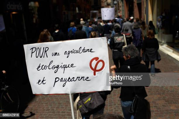 A placard reading 'For a farmer and ecolical agriculture' during the International March against Monsanto It took place in Toulouse as elsewhere in...