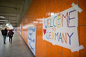 A placard reading 'Welcome to Germany' is fixed at a wall at the main station in dortmund western Germany on September 6 2015 where refugees who...