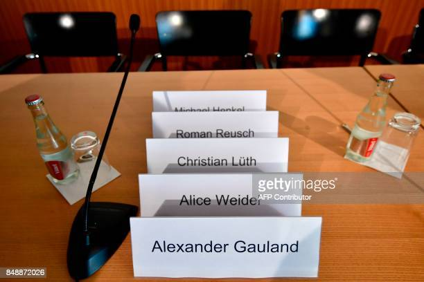 Placards bearing the names of the leading candidates of the antiimmigration and Islamophobic party AfD Alexander Gauland and Alice Weidel and of...